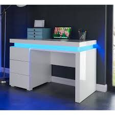 flash bureau contemporain blanc brillant l 120 cm achat