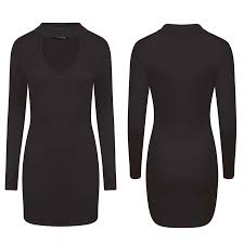 womens ladies stretch choker v neck long sleeve tunic jersey dress