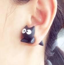cat earrings black cat two part earrings deepblue on artfire