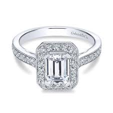 engagement rings cut images 14k white gold emerald cut diamond halo with channel setting 14k jpg