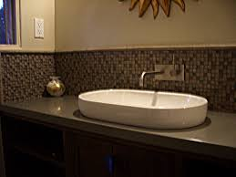 Backsplash Bathroom Ideas by Gray Wall Paint Backsplash Tile Washbasin Stainless Steel Faucet