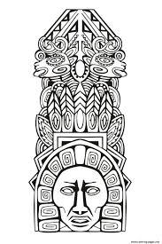 totem inspiration inca mayan aztec 5 coloring pages printable