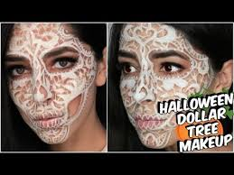 dollar tree lace skull halloween makeup tutorial youtube