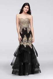 black and gold dress embroidered mermaid gown with tiered skirt david s bridal