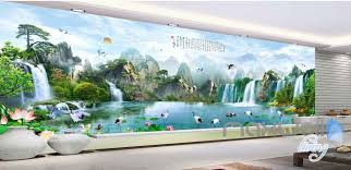 wallpaper for entire wall classic chinese mountain waterfall entire room wallpaper wall murals