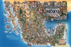Political Map Of Mexico Detailed Tourist Illustrated Map Of Mexico Mexico Detailed