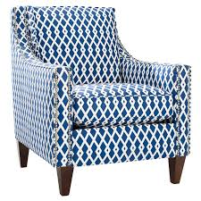 Blue And White Accent Chair Blue And White Geometric Swoop Arms Accent Chair With Cushions Of
