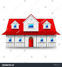 wide twostorey house isolated photorealistic vector stock vector