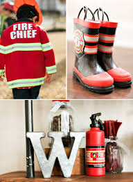 firefighter cupcake toppers industrial modern truck puppy birthday party hostess