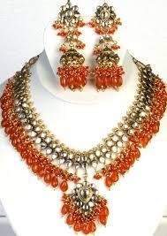 orange necklace sets images Orange bridal kundan necklace set with chandelier earrings jpg