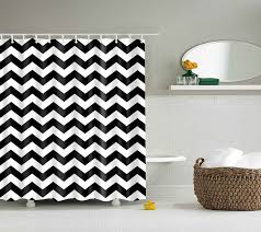Gray And White Chevron Curtains by Amazon Com Dotz Chevron Shower Curtain Black And White