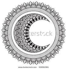 moon sun mandala ornament stock vector 658962961
