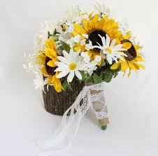 sunflower bouquets sunflower bouquet rustic wedding bouquet white daisies
