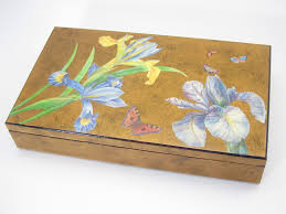 Japanese Desk Accessories Japanese Style Decoupage Box Gold And Blue Decorative Box Home