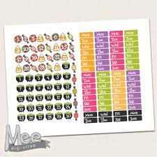 Halloween Stickers Printable by Cute Halloween Date Cover Stickers Printable Planner Stickers