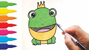 how to draw cartoon cute frog prince coloring pages for kids