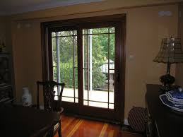 Wood Sliding Glass Patio Doors White Glaze Wooden Sliding Patio Door With Black Glass Door Panels