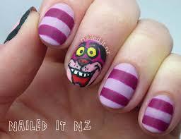 cheshire cat nail art alice in wonderland