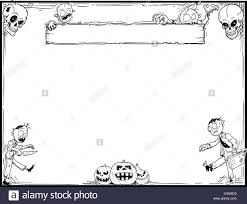 hand drawing cartoon halloween frame with cute zombie skull and