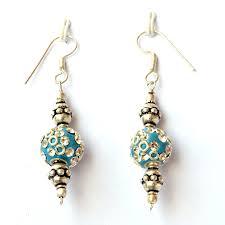home made earrings handmade earrings blue with white rhinestones