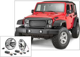jeep black headlights rugged ridge spartan grille system with quadratec led headlights