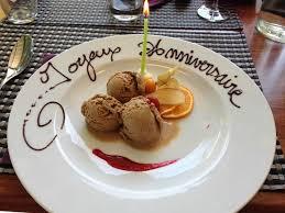 baise cuisine dessert avec message d anniversaire photo de auberge du goujon