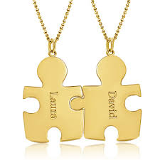 custom necklaces for couples gold tone couples puzzle pieces engraved name custom made any name