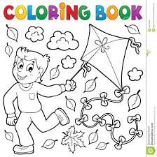 coloring book with boy and kite stock vector image 42811699