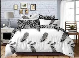 Giraffe Bed Set 2018 Black White Feather Print Bedding Set Boys Gentleman Home