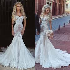 stylish lace mermaid wedding gown shoulder sleeveless