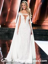 white lace prom dress white lace prom dress with cape miss universe