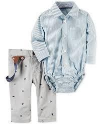 carter u0027s 3 pc suspenders striped shirt bodysuit u0026 schiffli pants