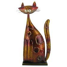 home decor statues orange metal cat sculpture statue ornament contemporary home