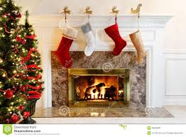 stockings by the fire stock image image 20056941