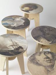 plywood print stool furniture