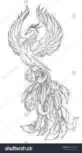 phoenix fire bird illustration character designhand stock vector