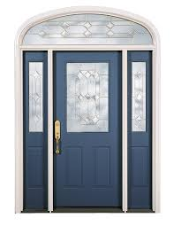 blue painted solid wood front door with double sidelight using