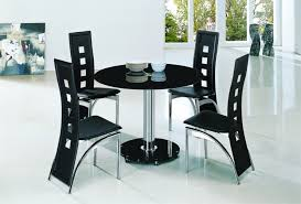 Small Black Dining Table And 4 Chairs Planet Black Glass Dining Table With Alison Chairs