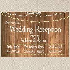 reception only invitation wording vintage lights wedding reception invitation on wooden background