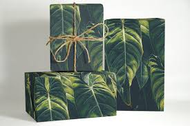 tropical leaves wrapping paper nature gift wrapping tropical