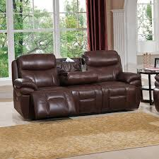 Leather Reclining Sofa With Console by Amax Leather C9856nprsddthr2032lu Summerlands Ii 100 Leather