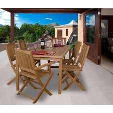amazonia rotterdam 7 piece teak patio dining set sc rotterdam