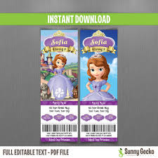 sofia the first birthday ticket invitations instant download and