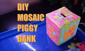 how to make a neon mosaic piggy bank easy diy craft tutorial for