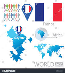 Map France by Mayotte Map France Flag World Map Stock Vector 149880638