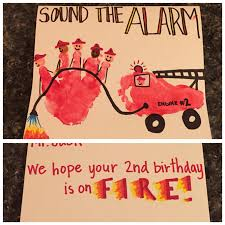 firefighter birthday card firefighter handprint and fire truck
