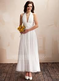 a line princess halter ankle length chiffon wedding dress with