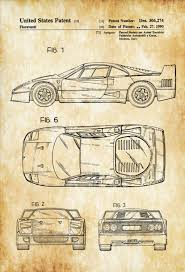 car ferrari drawing ferrari f40 patent patent print wall decor automobile decor