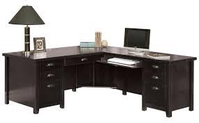 Computer Desk With Return Tribeca Loft Black Office Furniture Pedestal Executive Desk