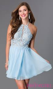 Light Blue High Low Dress Light Blue Short Open Back Party Dress Promgirl